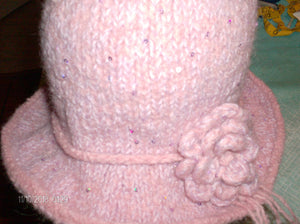 Hand knit boiled wool hat