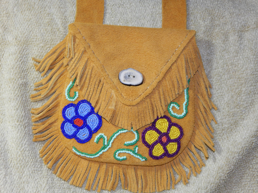 Floral hand beaded and hand stitched shoulder bag