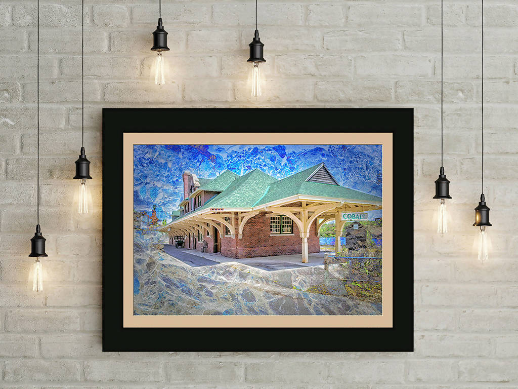 Digital colour photo download, Wall art print, Train Station, Titled: Cobalt Station, Cobalt Ontario Canada DIY printable art work for $9.85