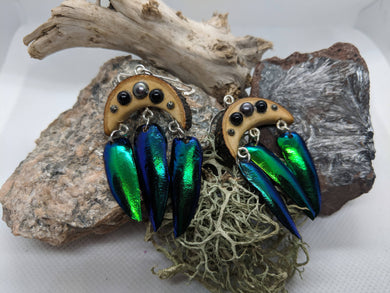 Real Jewel Beetle Earrings with Live Edge Wood - Pearl and Onyx