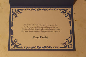 Birthday Card with handmade flowers - Blue