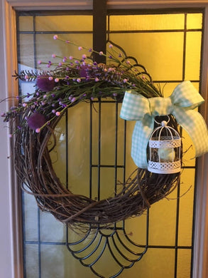 Spring Wreath with Birdcage and Mint Green Ribbon