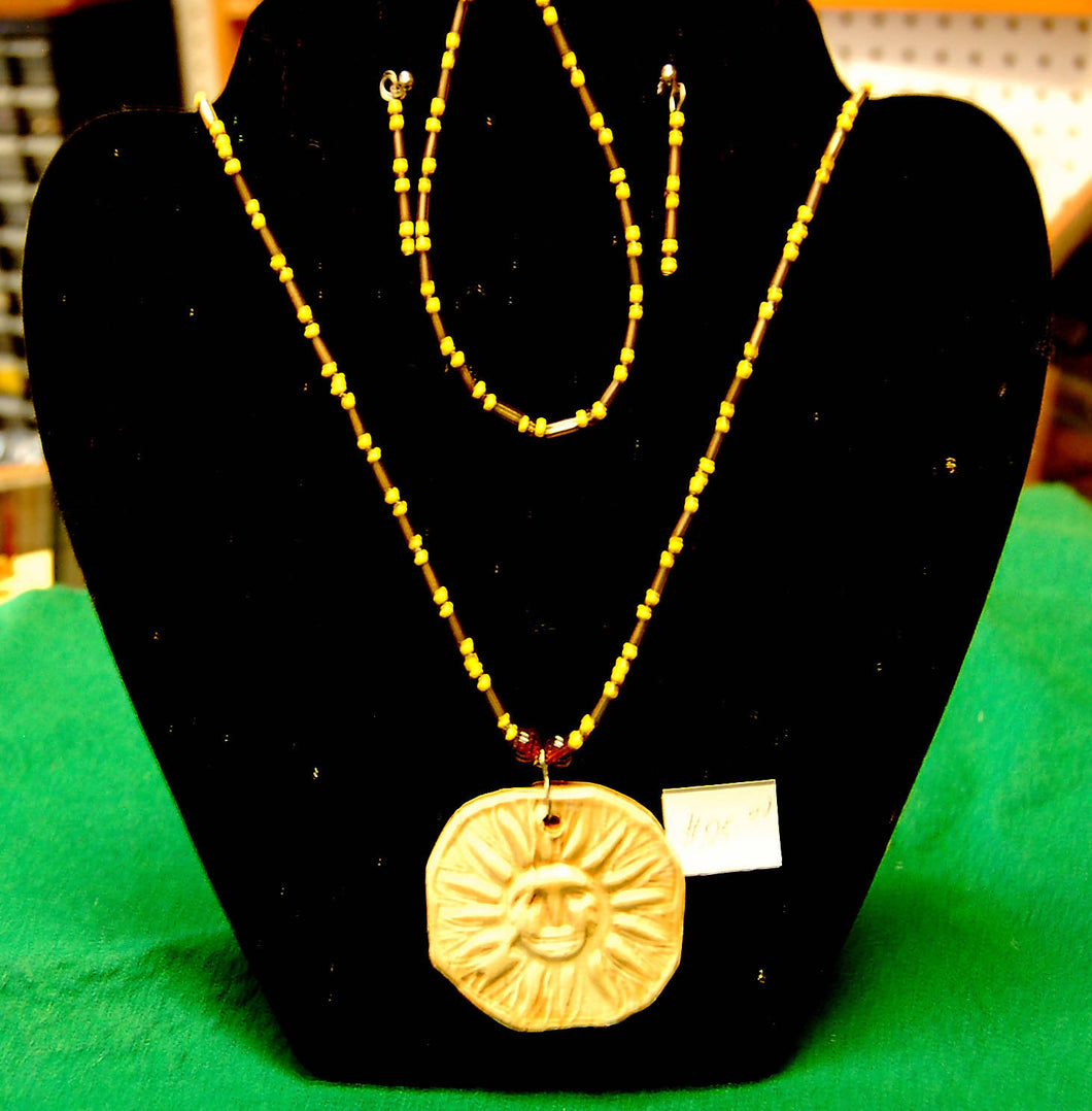 sun pendant necklace set