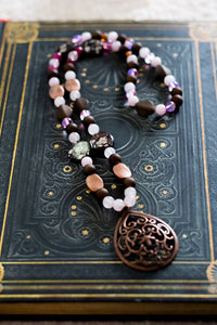 Rose Quartz, Pink Spectrolite and Dragon's Vein Agate necklace with Acrylic Beads