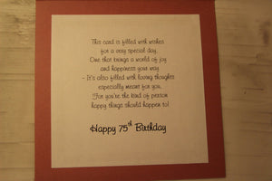 75th Handmade Birthday Card