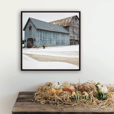 Digital files, Colour wall art print of Winter farm scene, Photo of rustic blue and grey barns, Titled: Blue Barn DIY printable art work for $9.85