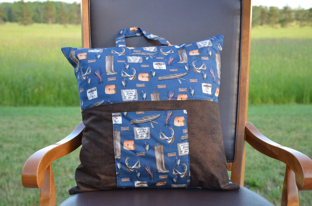 Outdoor themed reading travel pillow