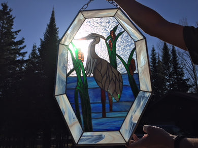 Stained Glass Blue Heron