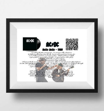 AC DC Hells Bells Lyrics art print