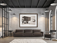 Digital files of Colour-Black and White print, Wall art print of Winter Tree House scene, Titled: 422A La Cabane DIY printable art work for $9.85