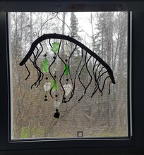 Seaglass and leather-shag art hanging