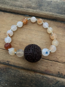 Agate with Chinese hand carved wood bead Mala Bracelet