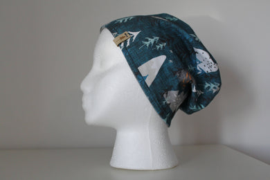 Reversible Teal Blue Mountain Print with Gray Slouchie Beanie Hat