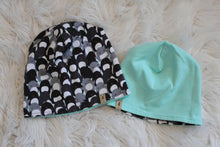 Reversible Penguins and Seafoam Green Slouchy Beanie Hat