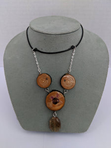 Handmade Live Edge Wood and Gemstone Pendant