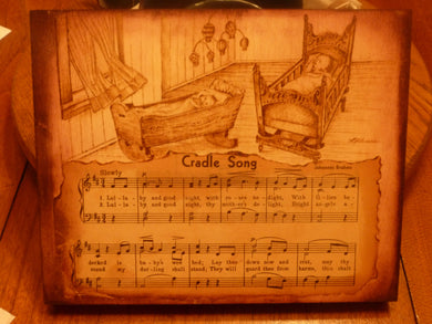 Cradle Song - woodburned plaque