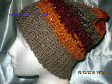 Adult Sized Waffle Stitch Crocheted Slouchy/Beanie