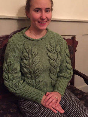 Spring Green Knitted Sweater With Leaves Pattern