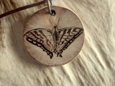 Butterfly - woodburned pendant