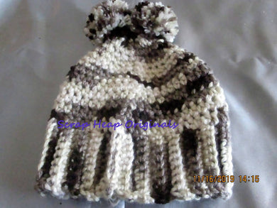 Newborn - 3 Months Crocheted Beanie Black/Grey Variegates