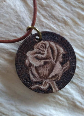 Rose - woodburned pendant
