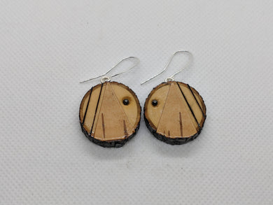 Handmade Live Edge Wood and Birch Bark Earrings