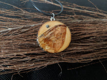 Handmade Live Edge Wood and Real Moth Wing Pendant