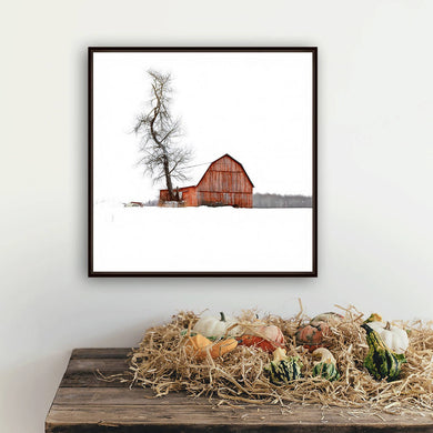 Digital colour files, Wall art print of Winter farm scene, Photo of a barn in a field Titled: Red Barn DIY printable art work for $9.85