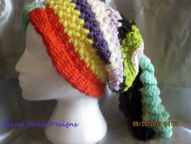 Adult Crocheted Multi Coloured Bean Stitch Complete with Curly Q's Toque/Beanie