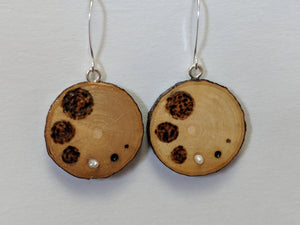 Handmade Live Edge Wood and Gemstone Earrings
