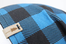 Reversible Blue Buffalo Plaid and Black Slouchy Beanie -- Adult