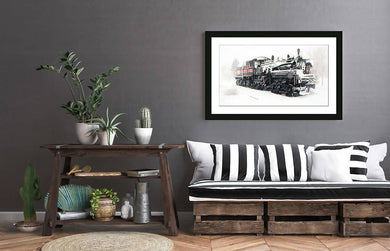 Digital black and white / colour photo download Wall art print, Instant download of train engine titled the Shay, Iroquois Falls Ontario DIY printable art work for $9.85