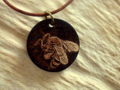 Honey Bee - woodburned pendant