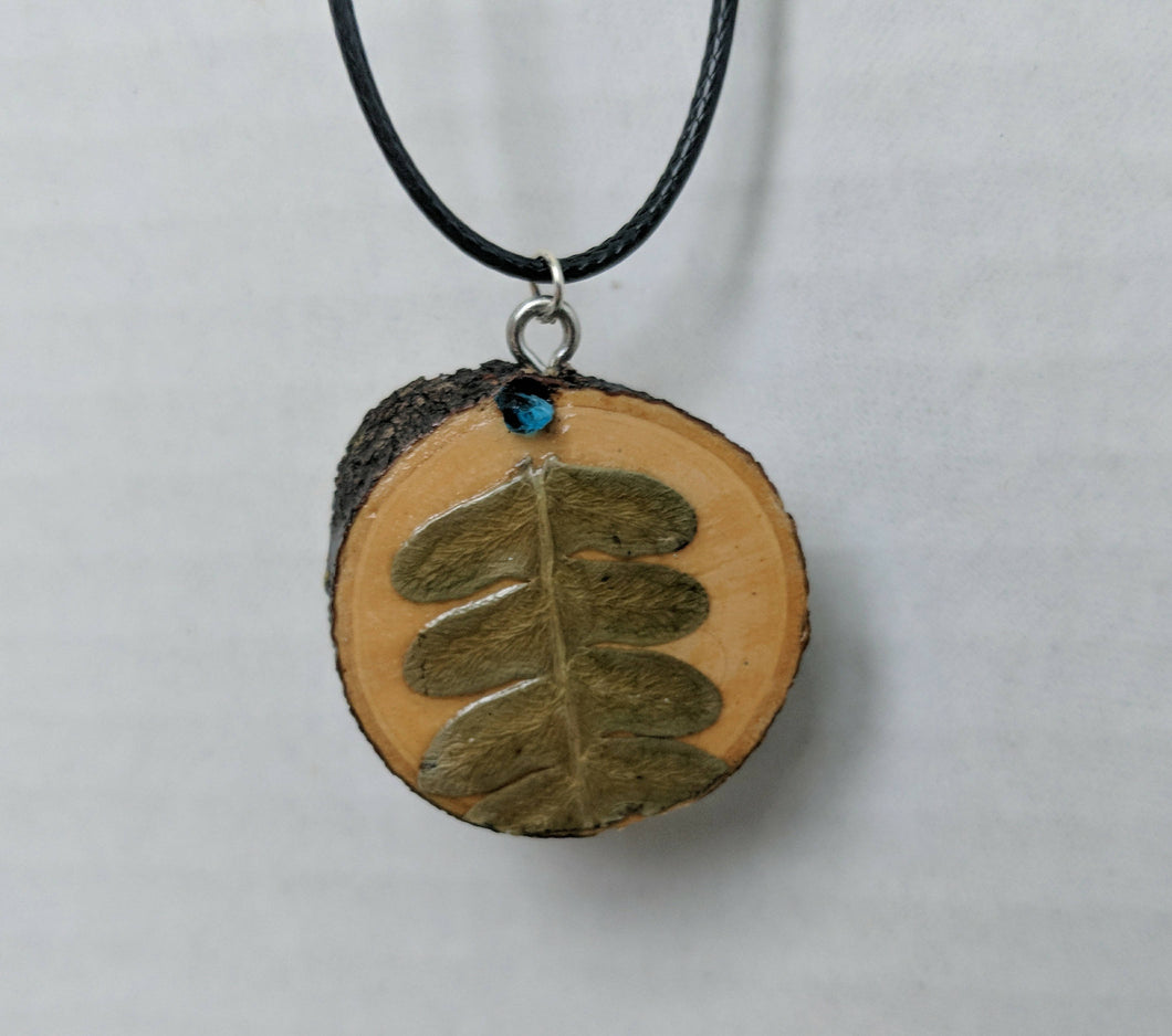 Handmade Live Edge Wood and Gemstone Pendant - Fern and Apatite