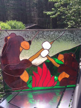 Stained Glass Bears Roasting Marshmallows