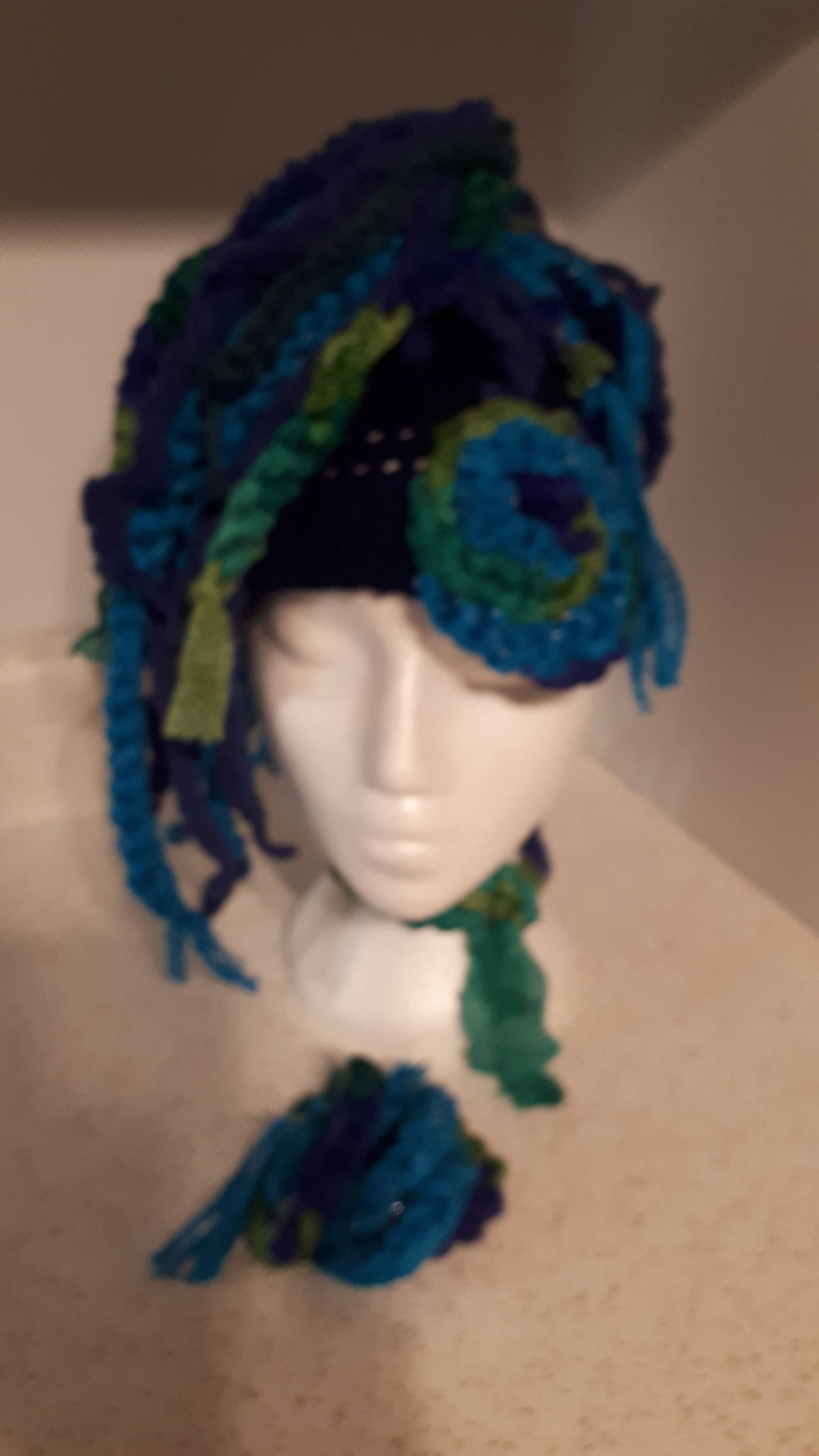 Peacock Patch Dread Hat Up or Down, Bracelet and Choker