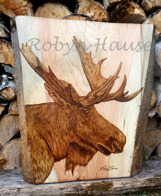 Live Edge Moose woodburning