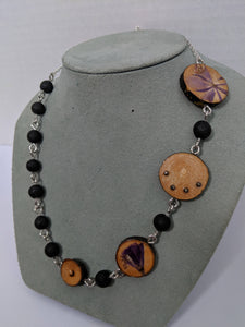 Handmade Live Edge Wood and Gemstone Necklace - Lava Beads and Pyrite