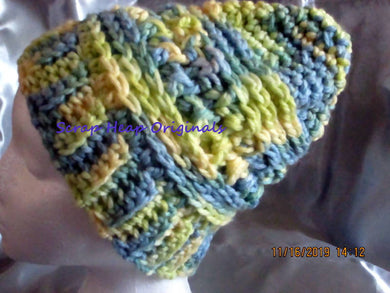 Adult Sized Blue/Yellow Chunky Variegated One of a KInd Crocheted Slouchy/Beanie
