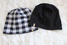 Reversible Grey White Buffalo Plaid and Black Slouchy Beanie Hat - Adult
