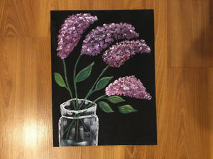 Hand painted lilac in vase