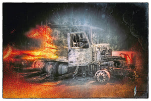 Digital colour JPEG files for Manipulated photo of burned out tractor (truck), Titled Highway from Hell; Burned Out Hwy 11 NE Ontario DIY printable art work for $9.85