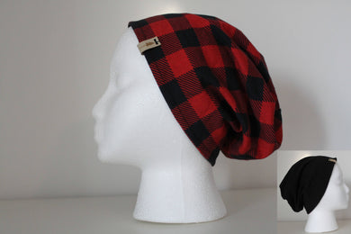 Reversible Red Buffalo Plaid and Black Slouchy Beanie -- Adult
