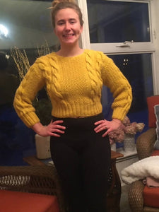 Knitted Golden Mustard Color Crop Top With Cables
