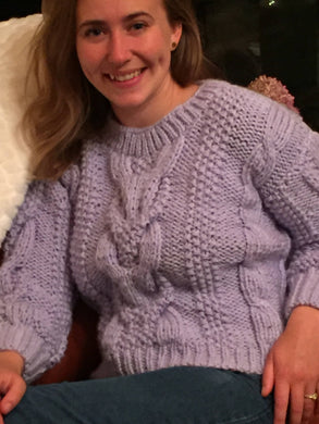 Knitted Soft Lilac Color Sweater With Cables