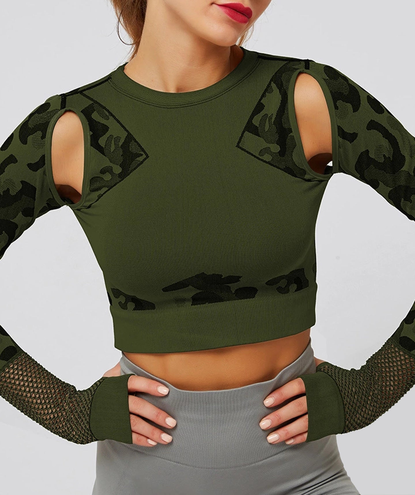 Bluza Fitness Camo Crocodile Green