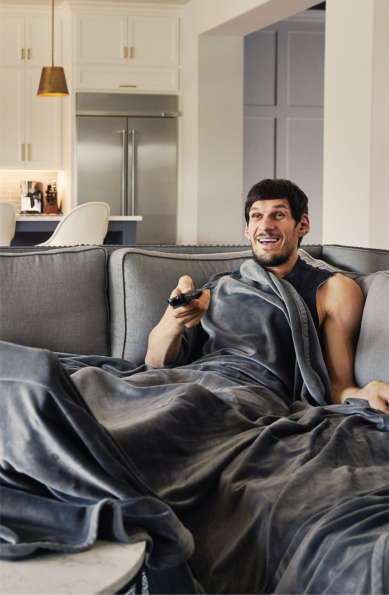 Boban Marjanović relaxing in a Big Blanket