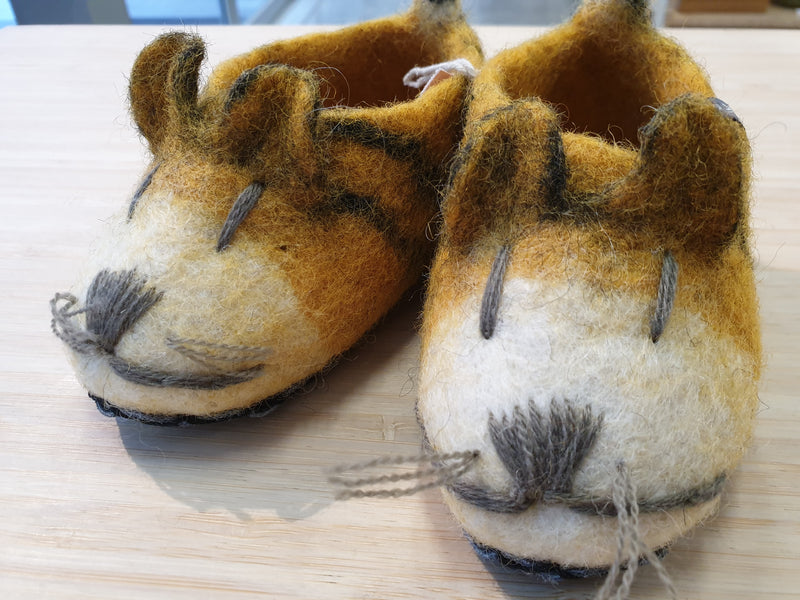 Felt Tiger Childs Slippers