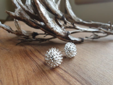 Silver Pohutukawa stud earrings