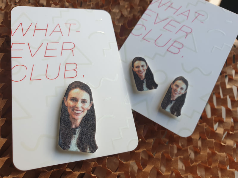 Whatever Club icon earrings Jacinda Ardern